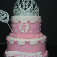 Princess Tiara Buttercream cake with fondant cap. Tiara, banner and wand are gumpaste.