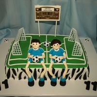 Soccer Player This is a twins cake and they play soccer, they request a soccer field and with the zebra all around because they love LMFAO...???? this is...