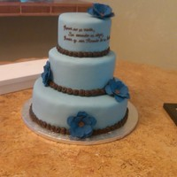 Blue And Brown Wedding Cake With Cobalt Blue Gumpaste Flowers This was my first wedding cake and my 3rd cake for someone other than a family member or close friend. It was an intense experience, but I...