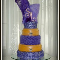 Purple Fantasy All chocolate cake, covered with purple and orange fondant.