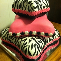 Zebra Pillow Cake This was a 3 tier zebra pillow cake for a Sweet 16 party.