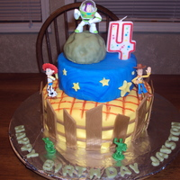 Toy Story Cake Buzz and Woody are at it again!!! strawberry w/ vanilla BC. the meteor Buzz is on is a RKT covered in tinted fondant. toys were purchased...