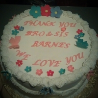 Thank You Cake WASC cake with buttercream filling. gumpaste butterflies and flowers and letters. Thanks for looking