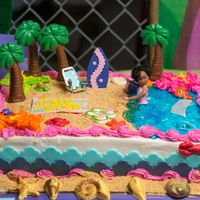A Day At The Beach Yellow cake with strawberry and pineapple filling. Buttercream icing. Fondant decorations, chocolate palm trees and seashells. Graham...