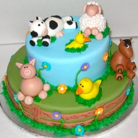 Farm Animal Cake Animals made out of fondant. Super super fun to make!