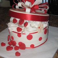 Box Of Hearts Valentine/Birthday cake. Hearts are chocolate, lid was rice crispies, and the cake was apple cake with cream cheese filling. Really enjoyed...