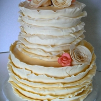 Vintage Ruffle Cake Fondant ruffles with fondant roses. This is my favorite cake I have done!