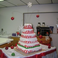 Candy Cane Lane  This was a 6 tier cake covered in fondant with red fondant stripes and a white fondant snow cap on each layer. The bottom of each tier was...