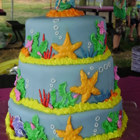 Mermaid Mia 3 tier cake I made for my daughter's best friend. It is covered in fondant with buttercream design. It was my first time really...