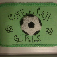 Soccer Cake Soccer cake made for my daughters end of season soccer party. The cake matched their t-shirts.