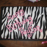 Zebra Print Cake This was my first attempt at a zebra print cake. I was pretty happy with how it turned out and the birthday girl loved it.