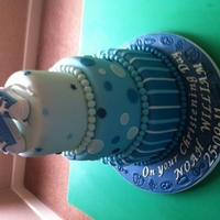 Blue Christening Cake With Trainers