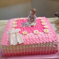 Christening Cake   WASC, With strawberry filling and gumpaste daisy`s