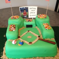 Baseball Field Cake Baseballe field cake for my grandson`s 6th birthday ,Vanilla cake with nutella filling, And fondant decor.