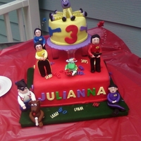 The Wiggles   This was a birthday cake for my granddaughter`s 3rd 3rd B/D, WASC strawberrys, Buttercream, And fondant figures