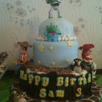 Toy Story Toy Story Cake for my 3yr old grandson, Bottom tier, strawberry cake with fresh strawberrys, and top tier, Vanilla cake with chocolate...