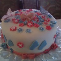 Baby Shower  I saw this cake here on CC, Sorry Can`t remember who it was from, But I loved it. Red velvet cake with cream cheese frosting, And fondant...