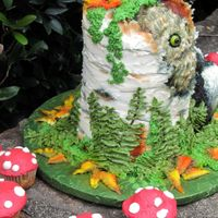 Owl And Skunk Woodland Baby Shower Cake