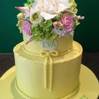 Yellow 2 Tier 80Th Birthday Cake With Gumpaste Flowers *