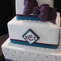 Teal/purple Square Wedding Cake