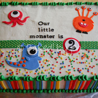 Little Monsters Birthday Cake Design based on the party invitations. Chocolate cake with peanut butter filling iced in vanilla buttercream. With the exception of the...