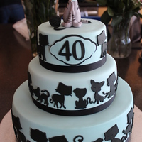 40Th Birthday Cake Client Requested That The Cake Have 40 Cats On It As Well As The Topper That Resembled The Family Cat   40th birthday cake. Client requested that the cake have 40 cats on it, as well as the topper that resembled the family cat.