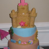 Sand Castle Cake This cake is vanilla cake with vanilla buttercream.Fondant and gumpaste accents. The palm tree and sea shells are chocolate. The sand...