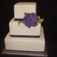 One Purple Peony Very clean, simple design for a modern bride. Fondant ribbon & gumpaste peony.