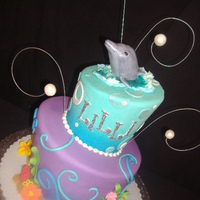 Dolphin Cake Topsy Turvy cake for a girl who LOVES dolphins!