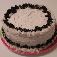 Cookies N Cream Cake   White cake, cookies n cream ice cream and buttercream frosting with crushed oreo.