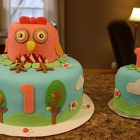 Your A Hoot Owl Birthday Cake Owl Theme 1st Birthday Cake, White Cake, Fondant, Buttercream Icing & Fillingt. (Owl is made out of cake as well.)