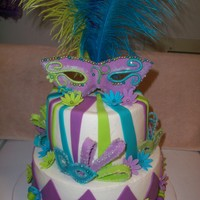Masquerade Cake Two tier purple,teal and lime colored fondant. masks are of gum paste, flowers and other embellishments are of fondant.