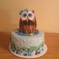 Owl With Mustache Birthday Cake Single tier vanilla and chocolate fudge with fudge and vanilla swirl filling. Not really sure why the birthday girl wanted the owl to have...