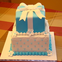 Birthday Cake Blue and White Birthday Cake 2 Tier