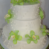 Wedding Cake 3 Tier Wedding Cake w/green orchids