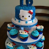 Hello Kitty Cupcake Tower   All decorations are made out of fondant. We loved making this cupcake tower!