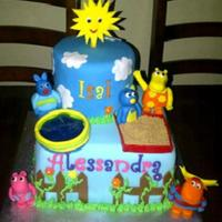 Backyardigans Themed Birthday Cake  Backyardigans birthday cake. All decorations made from fondant. Sand in sand box is brown sugar and water in pool is piping gel. We were...