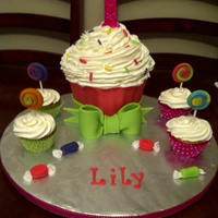 1St Birthday Cupcake Cake  This was our first time doing a giant cupcake and I have to say we really love the way it came out! Giant cupcake is made with homemade...