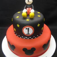 Mickey Mouse 2 tier Mickey Mouse cake with hand made figure
