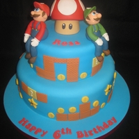 Mario & Luigi Children's birthday cake with hand modelled figures made from fondant with CMC.