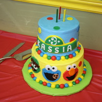 Sesame Street Cake made this for my daughters 3rd birthday, cake is covered in buttercream with fondant accents