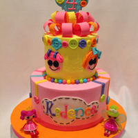 Lalaloopsy Cake With Buttons And Bows Buttercream cake with fondant decorations based on Lalaloopsy theme for my grandniece.