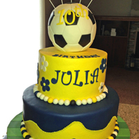 Icing Smiles Cake - Soccer Ball And Flowers I made this cake for Icing Smiles. Request was for a girl who likes soccer and University of Michigan colors. Soccer ball is RKT covered...