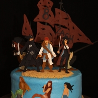 Pirates Of The Caribbean This cake is iced in buttercream and all decorations are gumpaste.