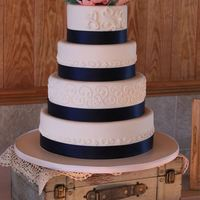 Navy & Coral Wedding Cake Loved working on this romantic wedding cake! Pumpkin spice with cinnamon cream cheese, chocolate with caramel swiss meringue, vanilla with...