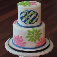 Preppy Floral Birthday Cake I had so much fun working on this little cake! I designed the cake to match the party invitations that had the same bold stripes and lovely...