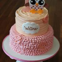 Owl First Birthday Cake Fun little buttercream cake designed to match the birthday girl's invitations! Vanilla cake with vanilla buttercream filling and...