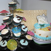 Cruise Ship Theme For A 50Th B-Day. I had a request for a friends 50th B-Day to make a cruise theme cake and cupcakes. I made the ship with easy flow. I used soft fruit chews...