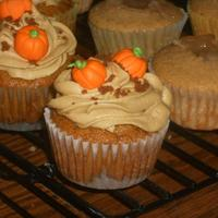 Fall Fest My Pumpkin Harvest cupcakes! It's a pumpkin cupcake with a ginger snap cookie crust bottom, topped lovingly with brown sugar...