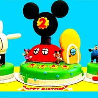 Mickey Mouse Cake MMF Covered WASC cake with orange cream filling and chocolate cake with chocolate ganache filling
